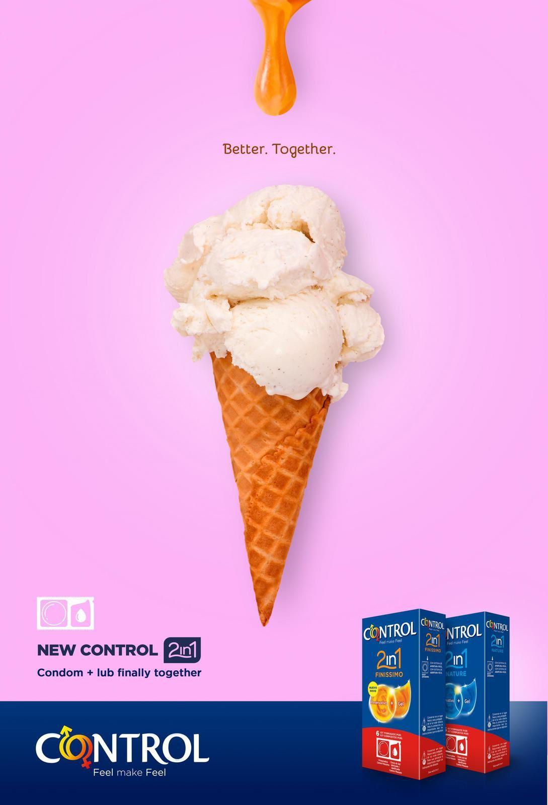 """Control : """"Better. Together. New CONTROL 2in1 Condom+lub finally together"""" (préservatifs) I Agence : September, Madrid, Espagne (juin 2016)"""
