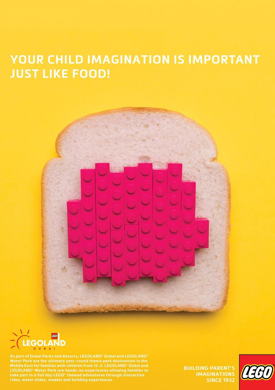 "Legoland : ""Your child imagination is important just like food !"" I Création : Abdelkader Driss, Patrick Souleman, Ihssan Ali, Alberto Kazck (avril 2018)"