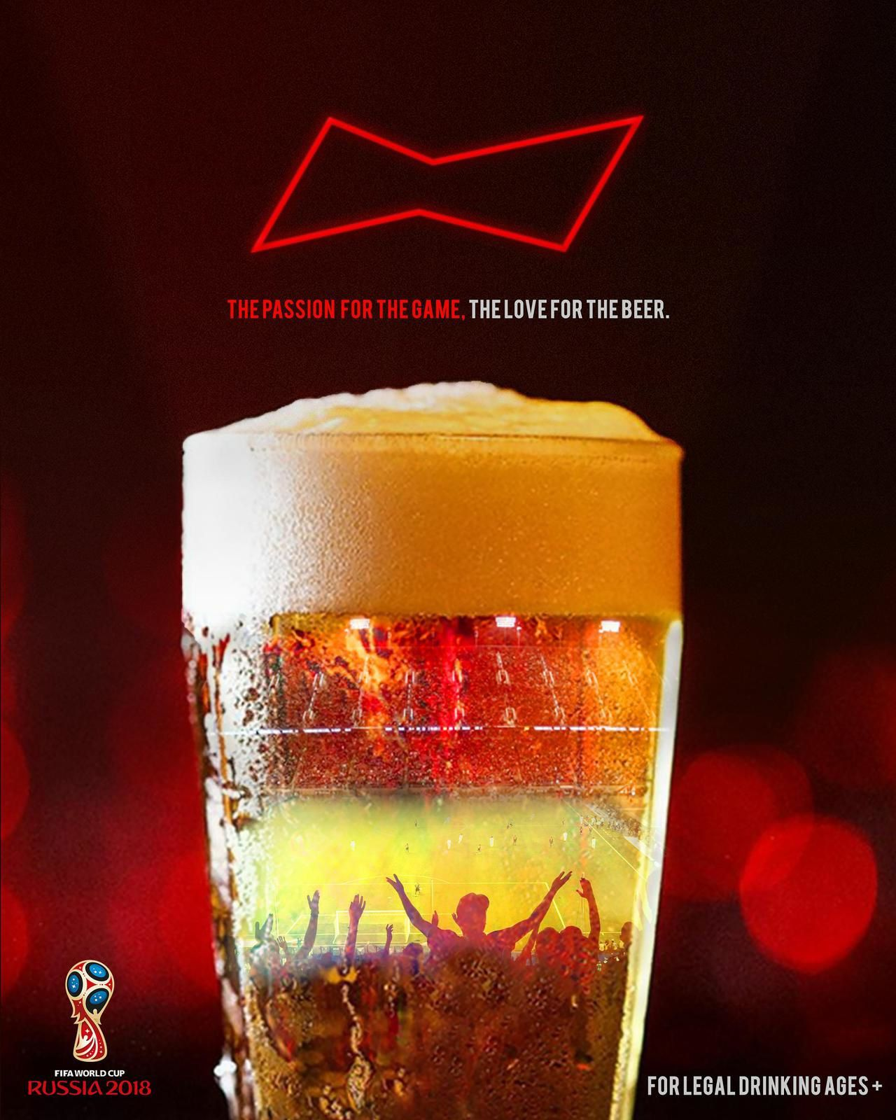 """The Passion For The Game, The Love For The Beer"" - Budweiser (bière) I Création : Kayode Aliyu (juin 2018)"