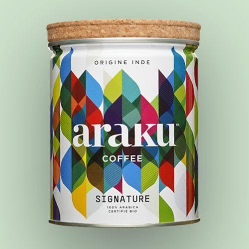 Araku (cafés bio, 100% intégrés en circuit court, d'origine indienne cultivés en biodynamie) I Design : Desdoigts et Associés, Paris, France (2018)
