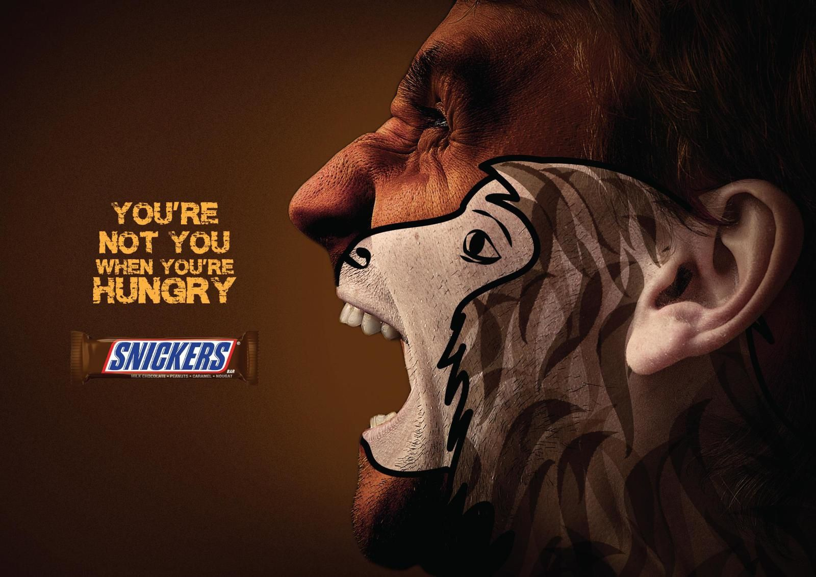 "Snickers : ""You're not you when you're hungry"" (barres chocolatées) I Agence :  Y&R, Dubaï, Emirats Arabes Unis (janvier 2018)"
