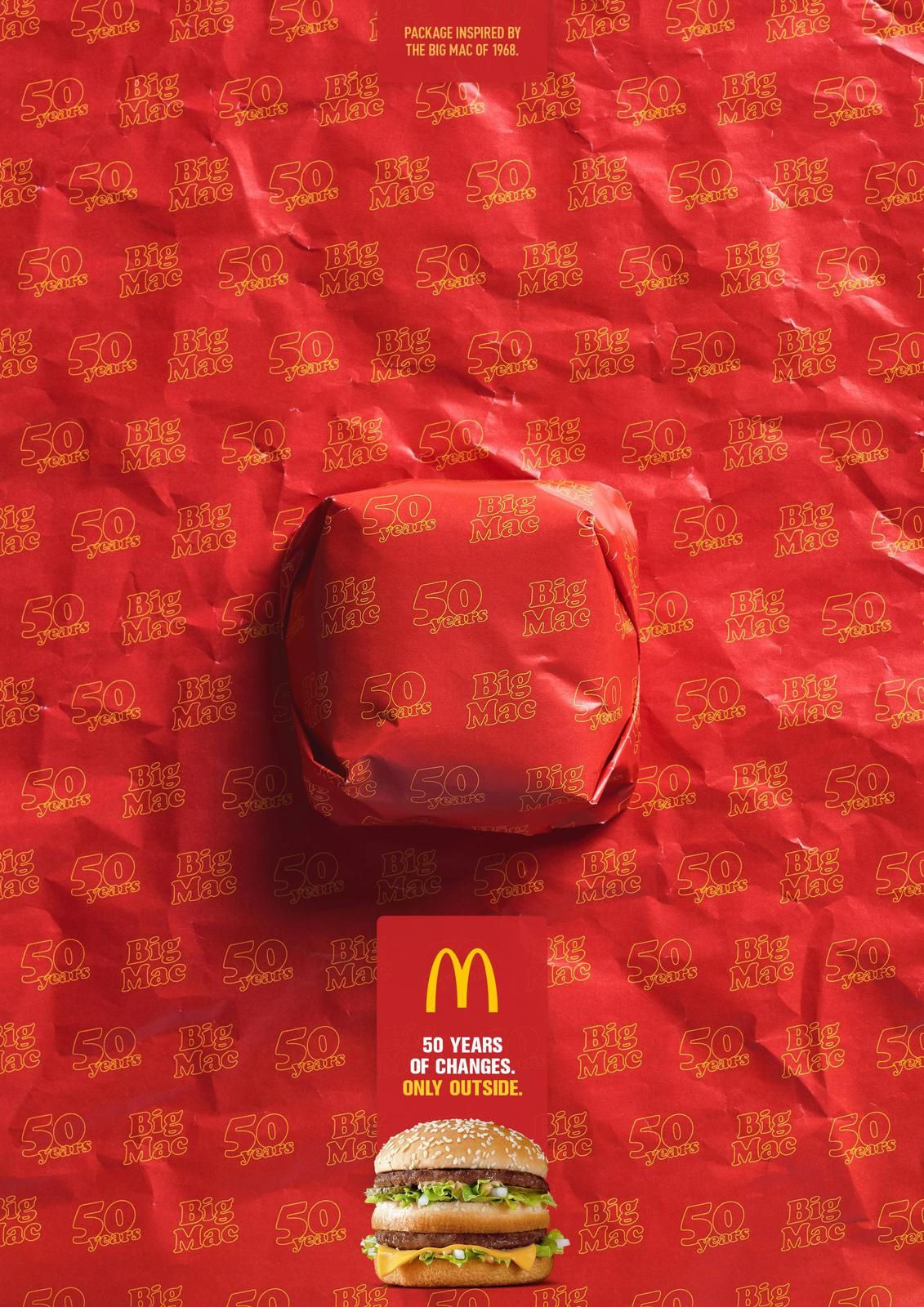 """Big Mac - Packed in History - 1968 I McDonald's : """"Package inspired by the Big Mac of 1968. 50 years of changes. Only outside"""""""