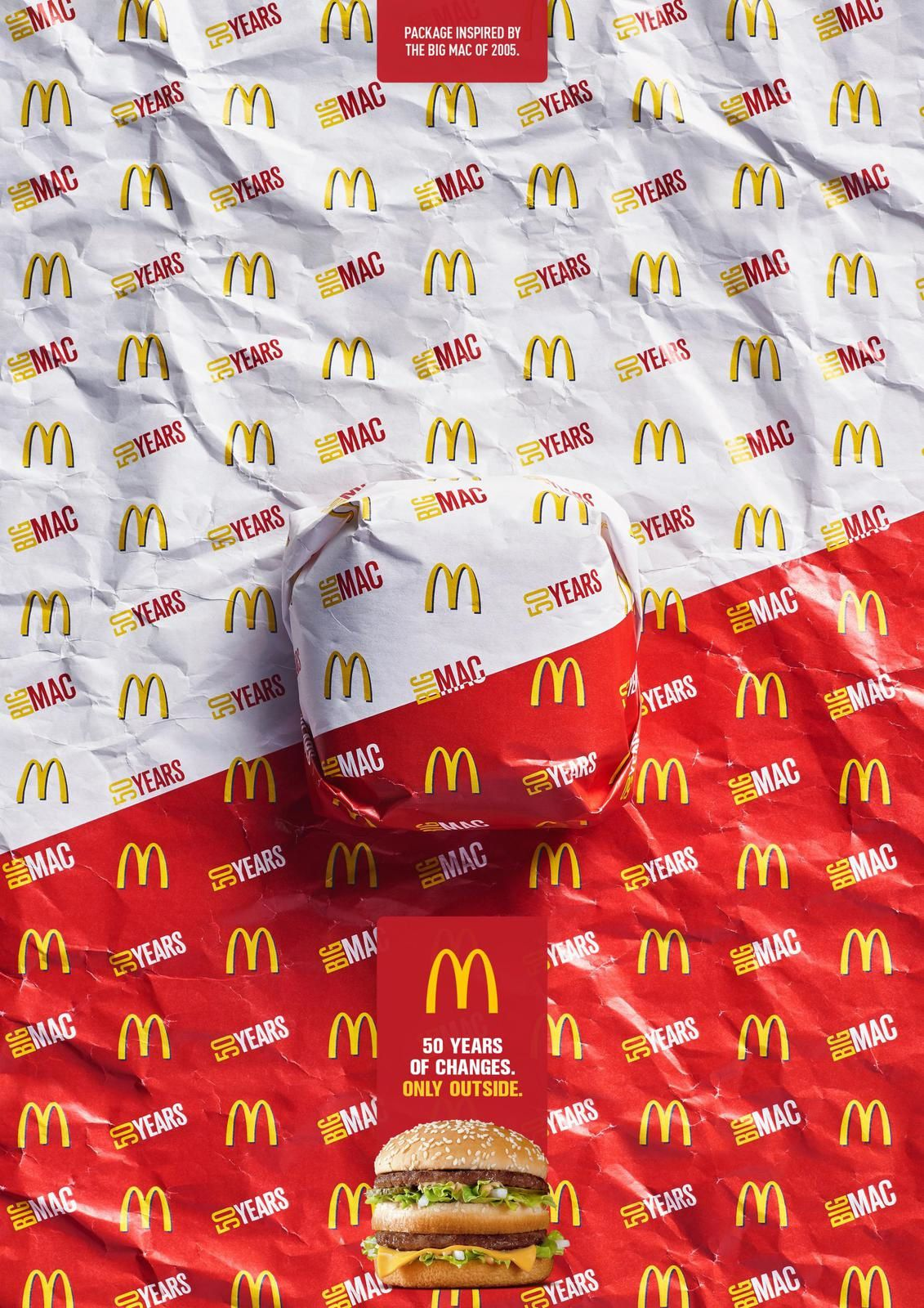 """Big Mac - Packed in History - 2005 I McDonald's : """"Package inspired by the Big Mac of 1968. 50 years of changes. Only outside"""""""