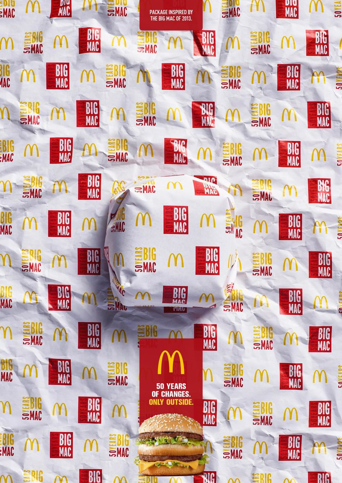 """Big Mac - Packed in History - 2013 I McDonald's : """"Package inspired by the Big Mac of 1968. 50 years of changes. Only outside"""""""