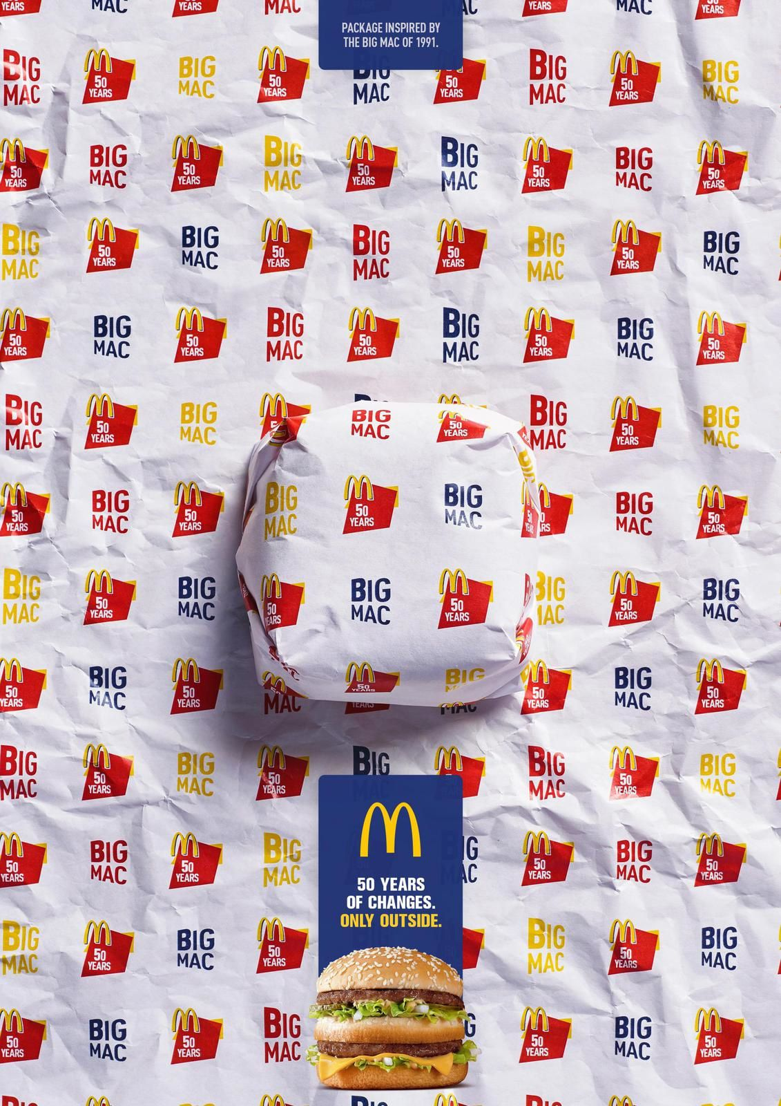 """Big Mac - Packed in History - 1991 I McDonald's : """"Package inspired by the Big Mac of 1968. 50 years of changes. Only outside"""""""