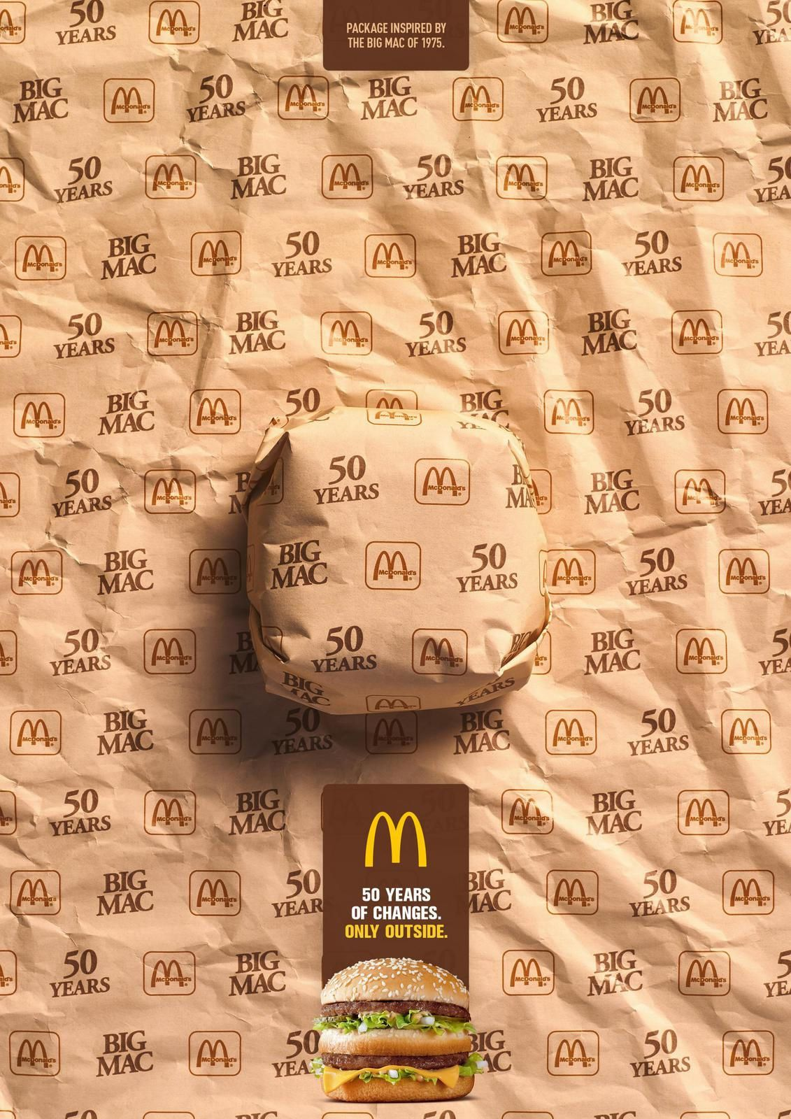 """Big Mac - Packed in History - 1975 I McDonald's : """"Package inspired by the Big Mac of 1968. 50 years of changes. Only outside"""""""