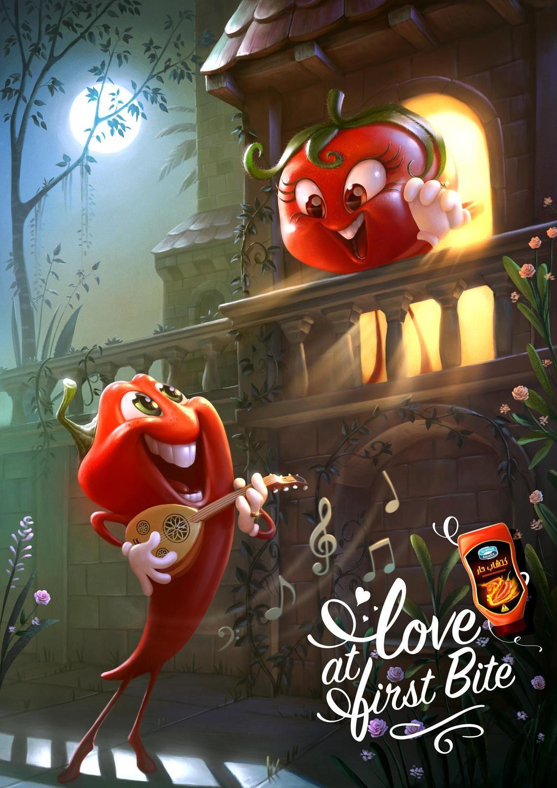 "Saudi Arabia : ""Love at first bite"" (ketchup épicé) I Agence : Impact BBDO (Jeddah), Saudi Arabia (mars 2018)"