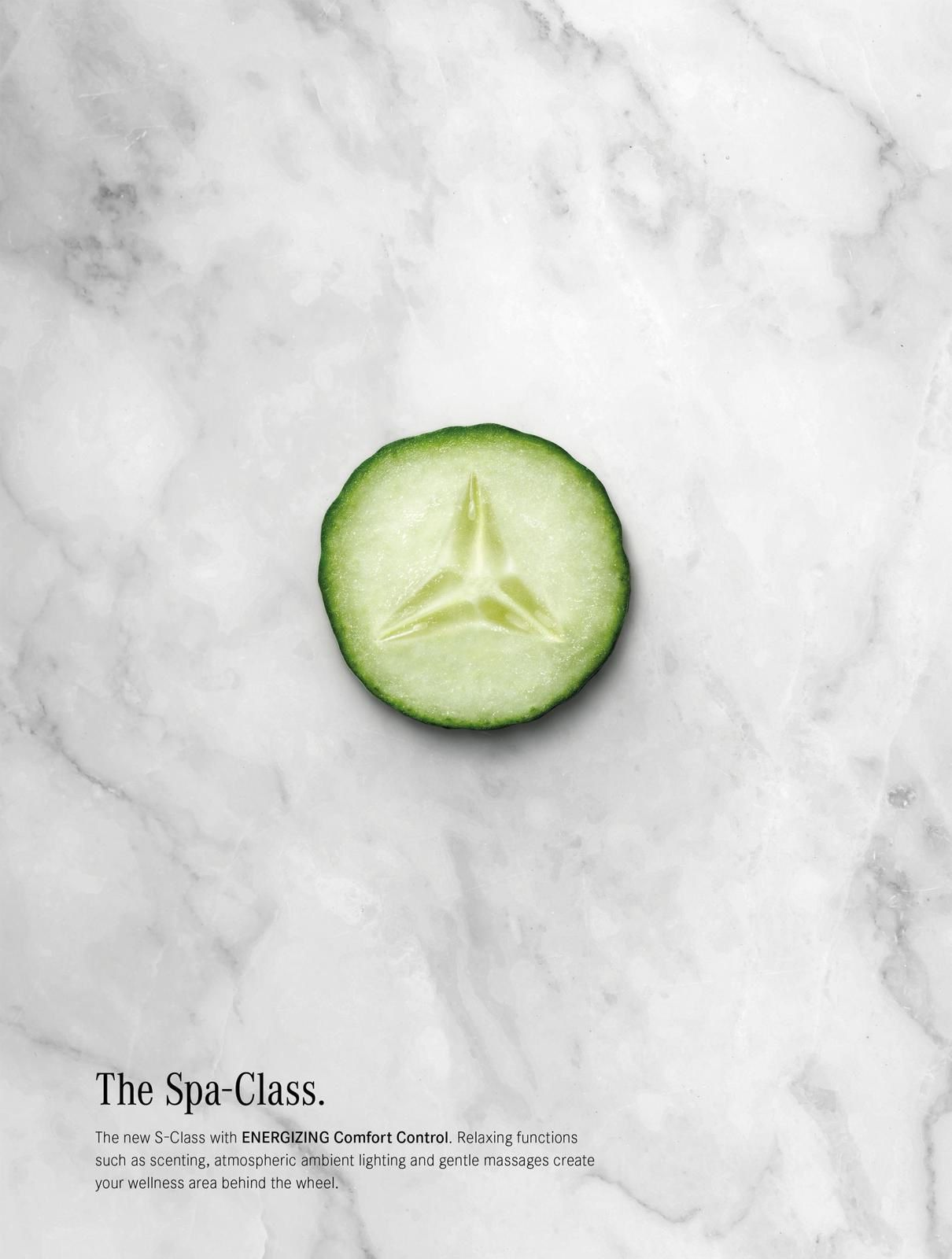 "Mercedes-Benz : ""The Spa-Class. The new S-Class with ENERGIZING Comfort Control. Relaxing functions such as scenting, atmospheric ambient lighting and gentle massages create your wellness area behind the wheel"" I Agence : PKP BBDO, Vienne, Austriche (août 2018)"