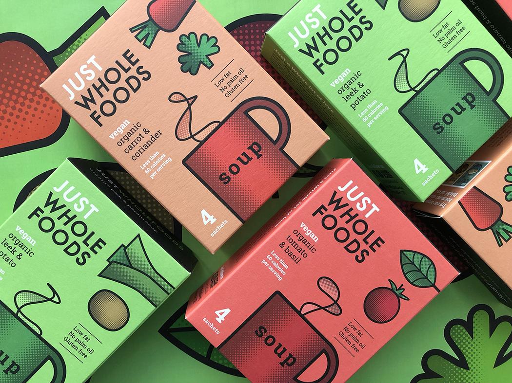 Just Wholefoods (préparations pour recettes vegan et produits à base de plantes) I Design : Studio h, Londres, Royaume-Uni (janvier 2019)