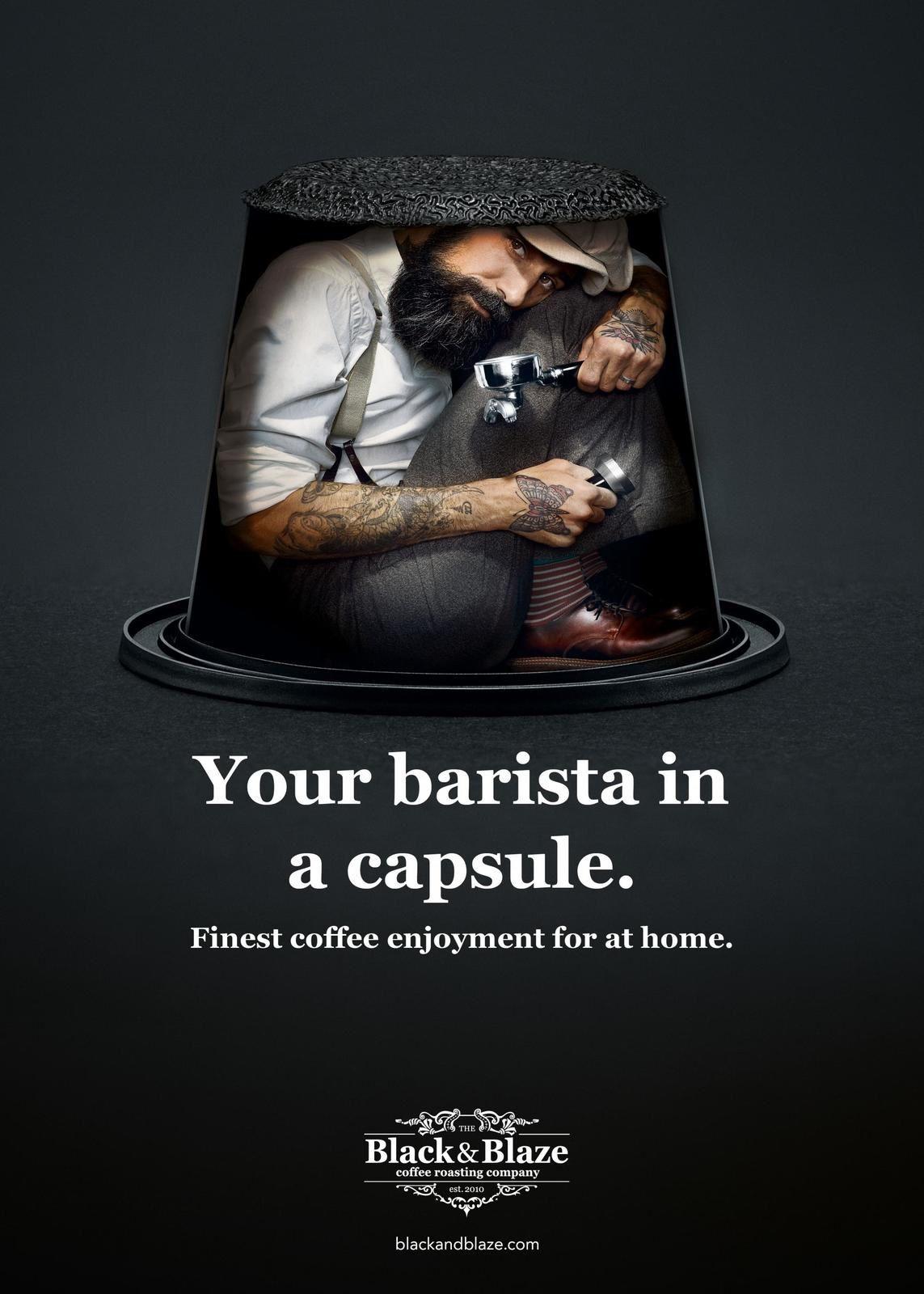 "Black&Blaze : ""Your barista in a capsule. Finest coffee enjoyment for a home"" (café) I Agence : Inhalt&Form Werbeagentur BSW, Zurich, Suisse (décembre 2018)"