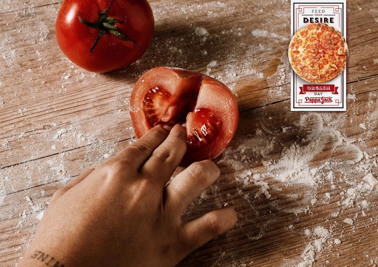 """Pappa Jack (pizzas) : """"Feed your desire"""" (campagne célébrant la Journée de l'orgasme) I Agence : Wide, Rio de Janeiro, Brésil (août 2019)"""