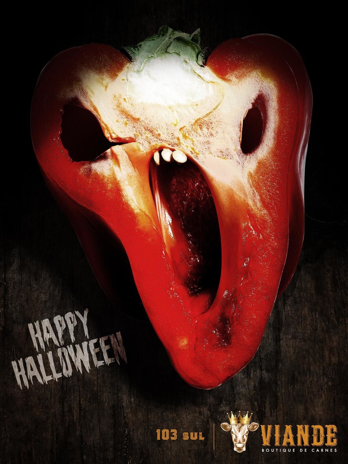 "Viande : ""Happy Halloween"" (boucherie) I Agence : Calix Advertising, Brésil (octobre 2019)"