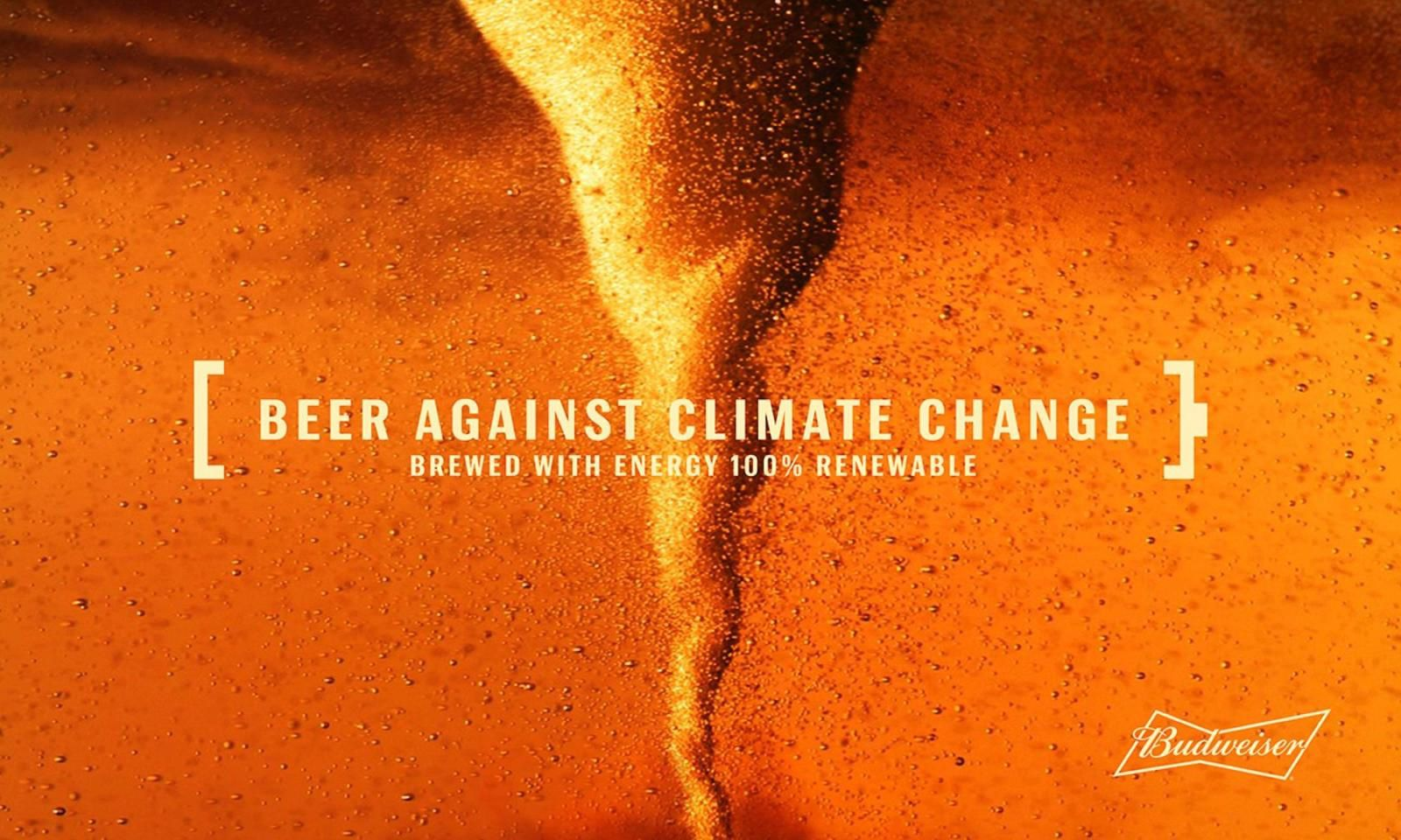 "Budweiser : ""Beer against climate change. Brewed with energy 100% renewable"" (bière) I Agence : Draftline Maz, Colombie (ocotbre 2019)"