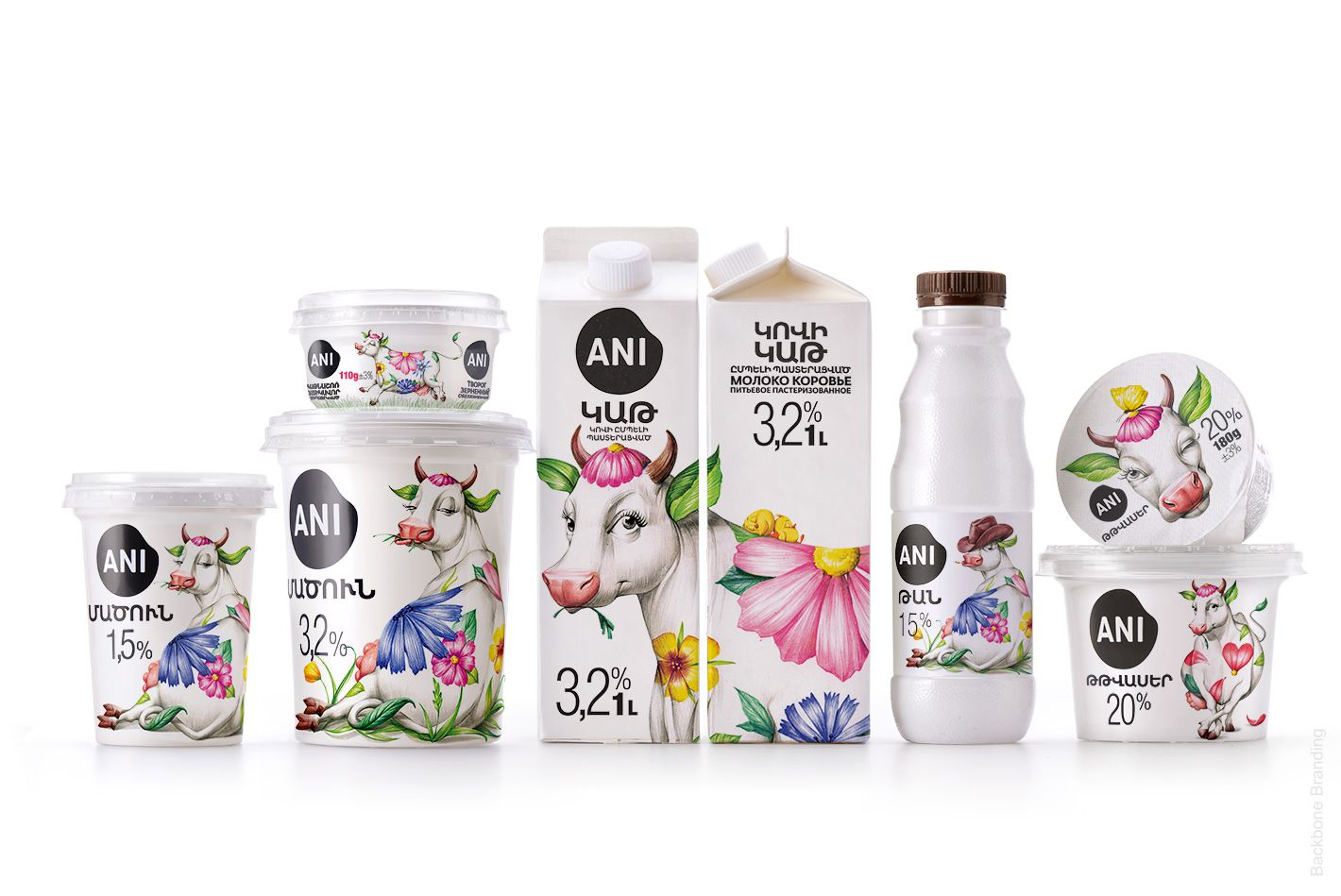 ANI (produits laitiers) I Design : Backbone Branding, Arménie (janvier 2020)