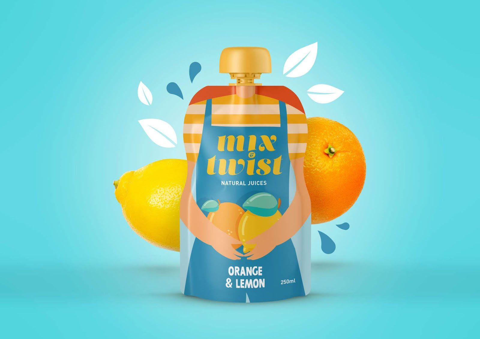Mix & Twist (jus de fruits naturels sans additifs ni conservateurs) I Design : Mara Rodríguez - Design, Espagne (janvier 2020)