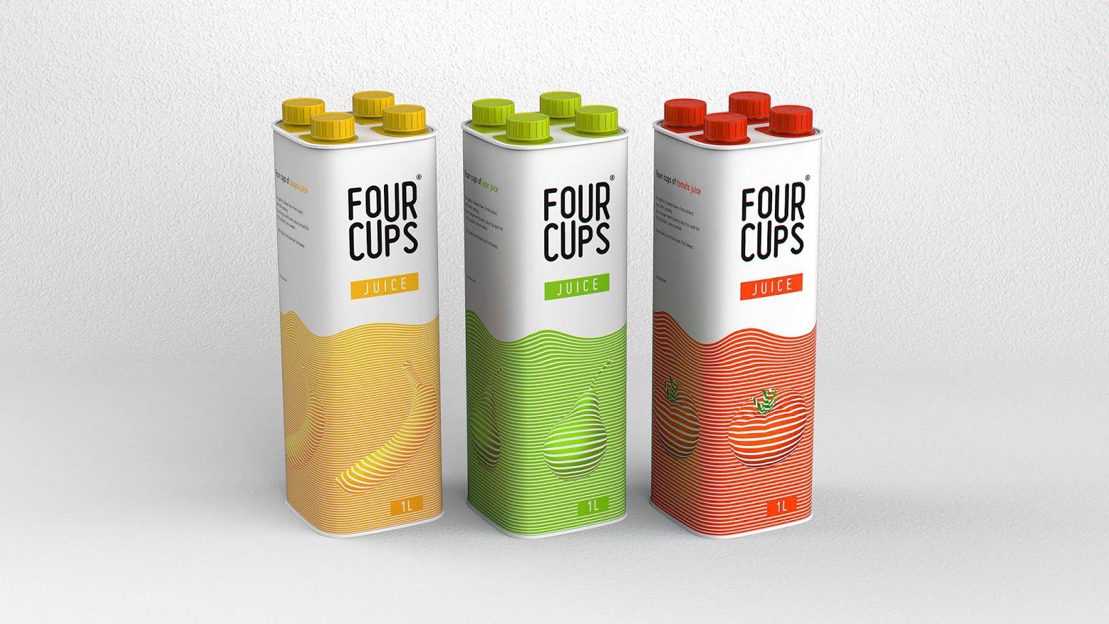 Four Cups (bouteille de lait et jus de fruits permettant une fraîcheur optimale grâce à sa compartimentation) I Design (concept) : Stas Bordukov, Russie (mars 2020)