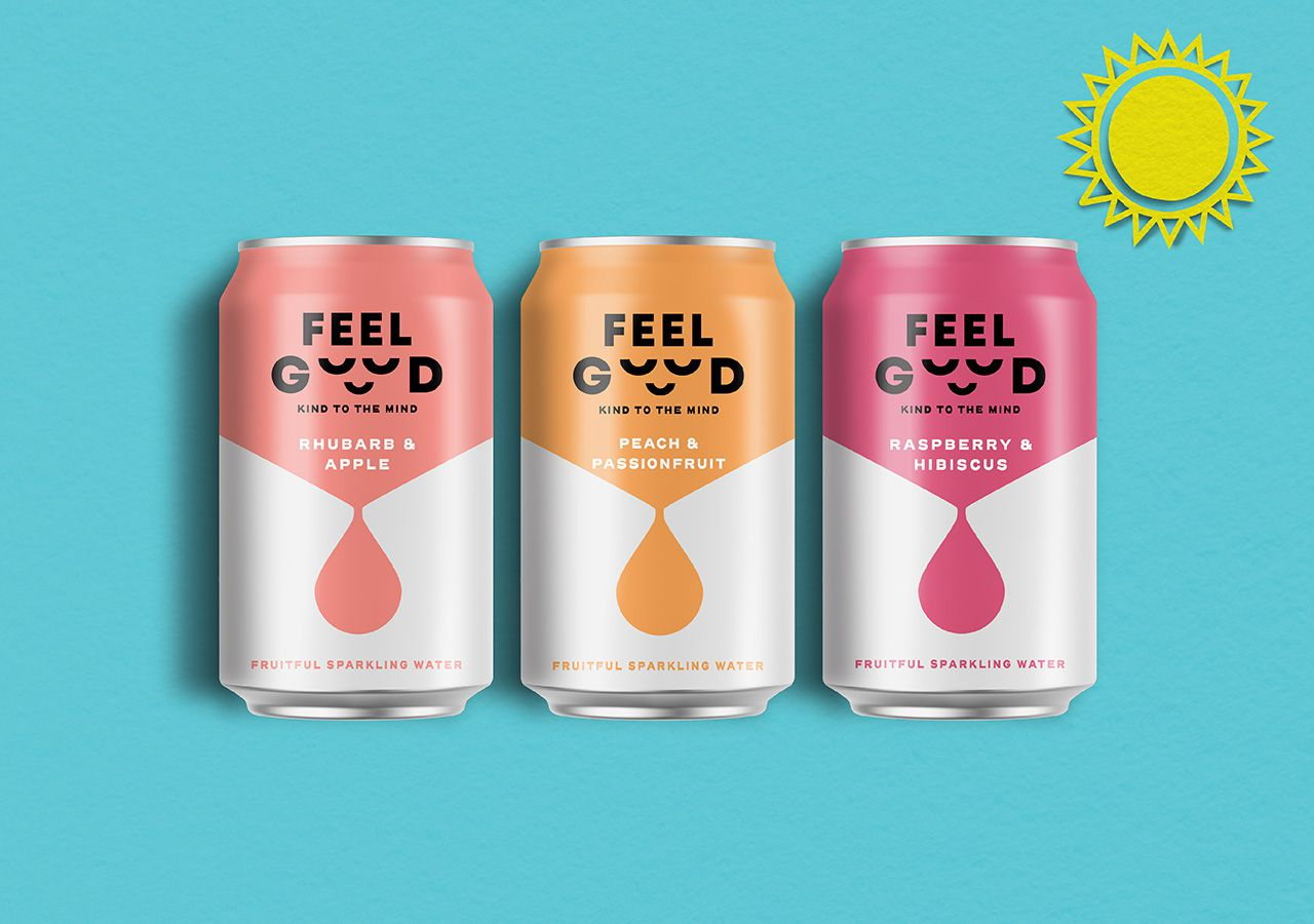 "Feel Good Drinks : ""Feel Good"" (boisson pétillante aux fruits) I Design : The Collaborators, Royaume-Uni (avril 2020)"