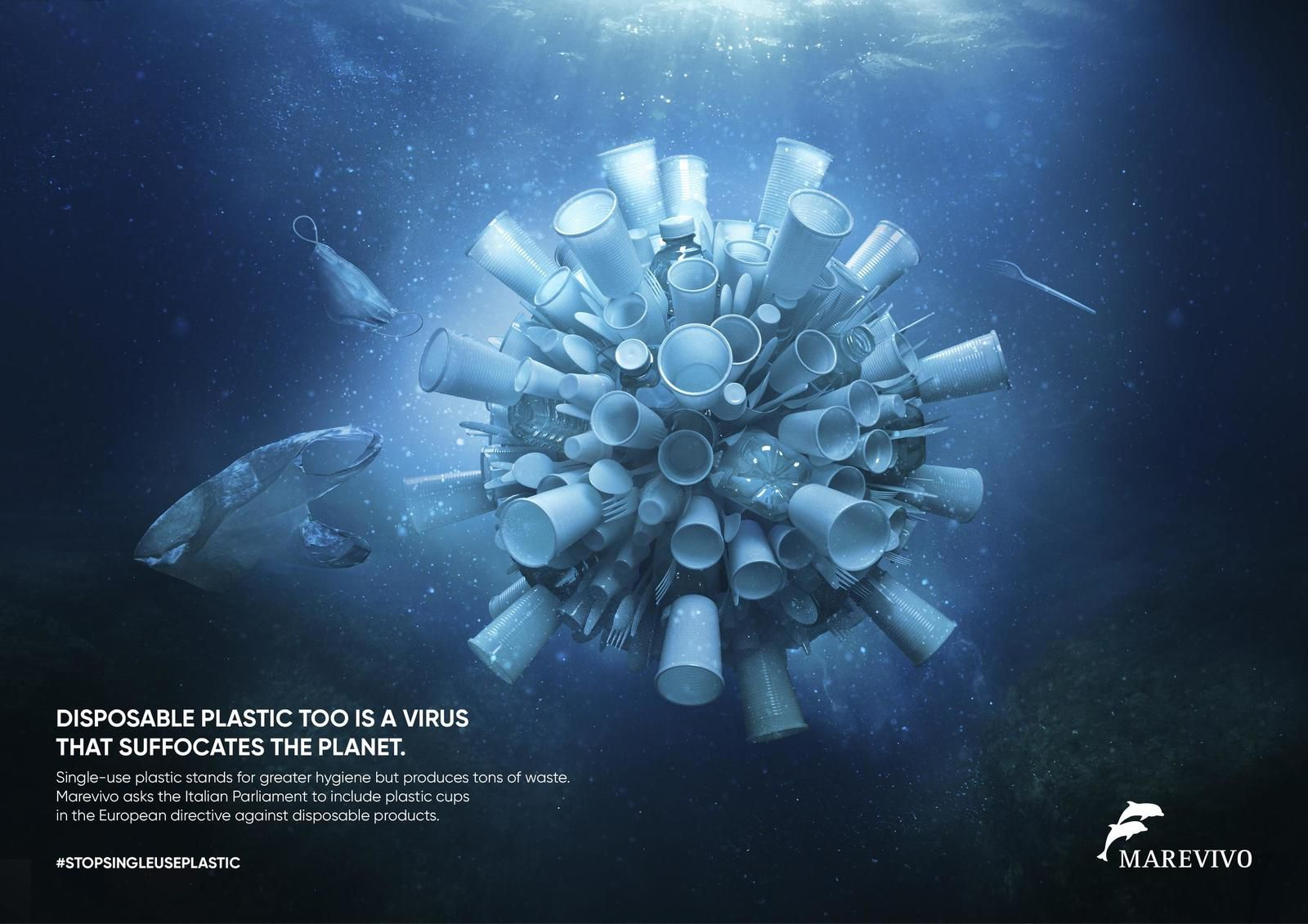 "Marevivo : ""Disposable plastic too is a virus that suffocates the planet"" (ONG) I Agence : Alphaomega Group, Rome, Italie (juillet 2020)"