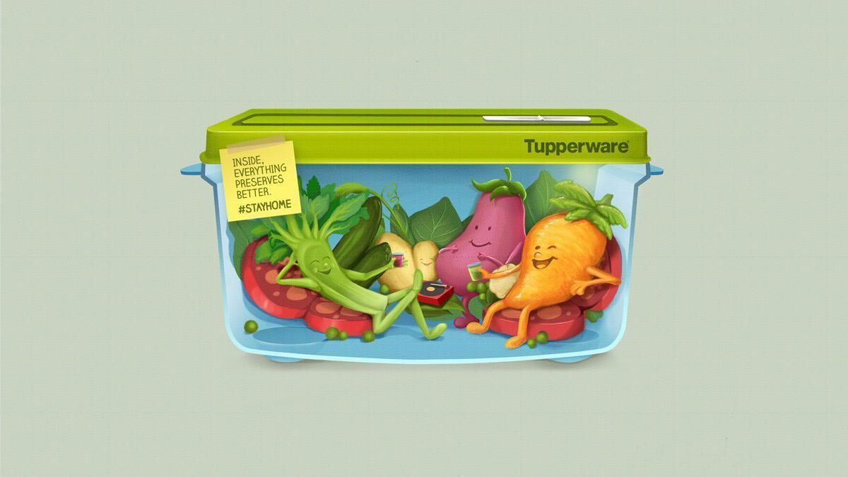 """Tupperware : """"Inside, everything preserves better. #StayHome"""" I Agence : Beso, Mexico, Mexique (juillet 2020)"""