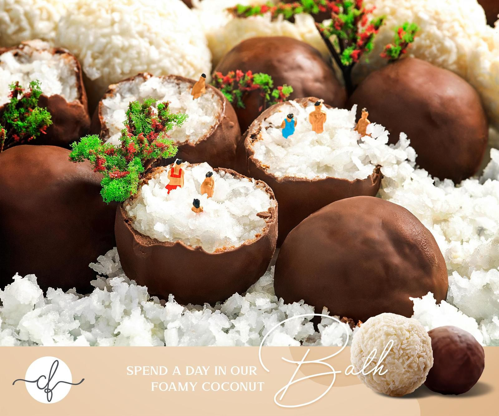 """Chocolate Factory : """"Spend a day in our foamy coconut"""" I Agence : Artbox Studios, Le Caire, Egypte (juillet 2020)"""