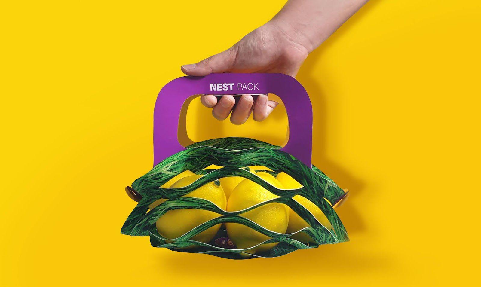 """""""Nest pack"""" (panier de fruits éco-responsable) I Design (projet étudiant) : jo hui JUNG (kyonggi University), Corée du Sud (juillet 2020)"""