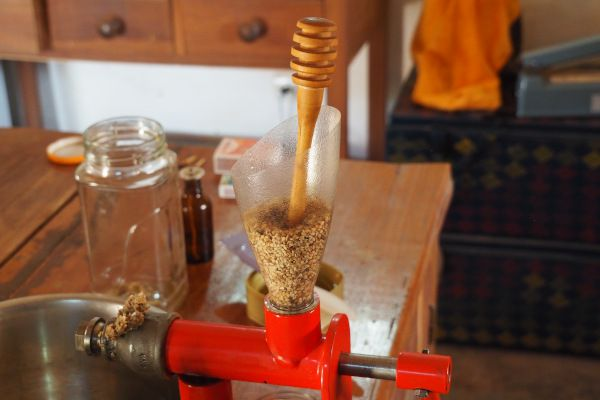 J'utilise une cuiller à miel comme pilon, que je tourne et titille pour faire descendre les graines. J'essaie de ne pas trop appuyer, pour ne pas faire d'effort inutile, car le pressage est déjà assez physique. Je laisse d'ailleurs souvent le pilon pour mouliner à 2 mains et ainsi soulager mon poignet droit et mon cou.