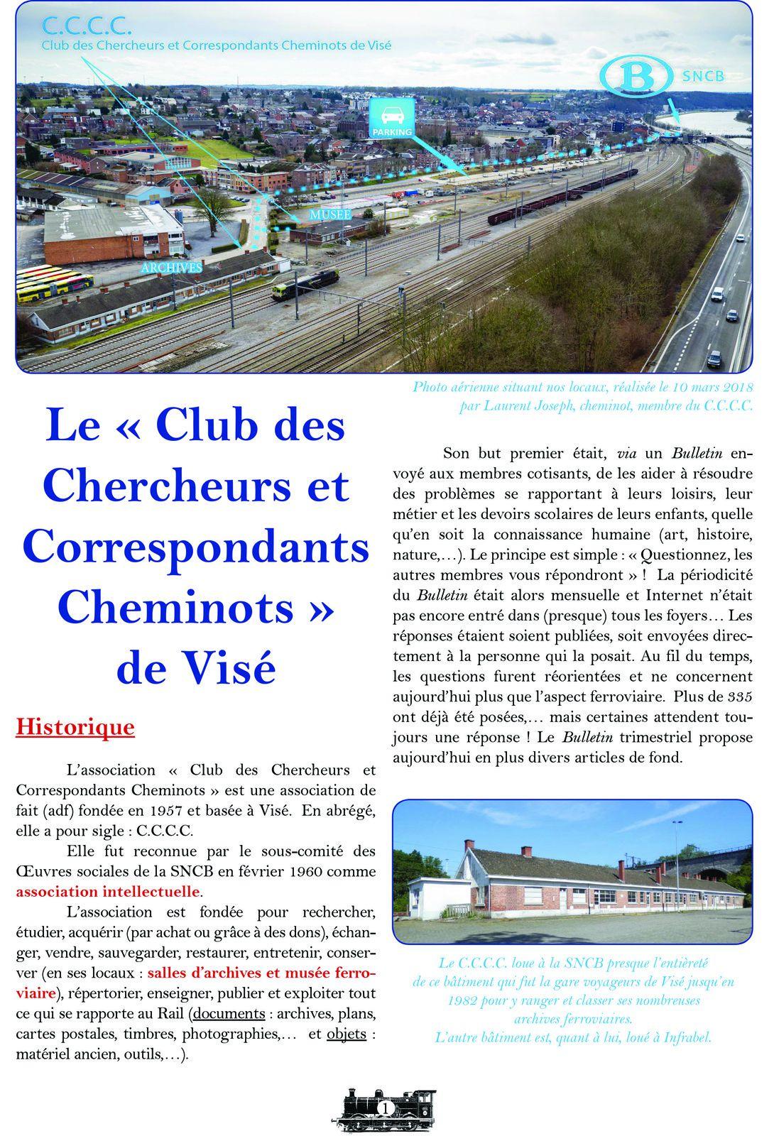 Le Club des Chercheurs & Correspondants Cheminots de Visé Qui sommes nous ?