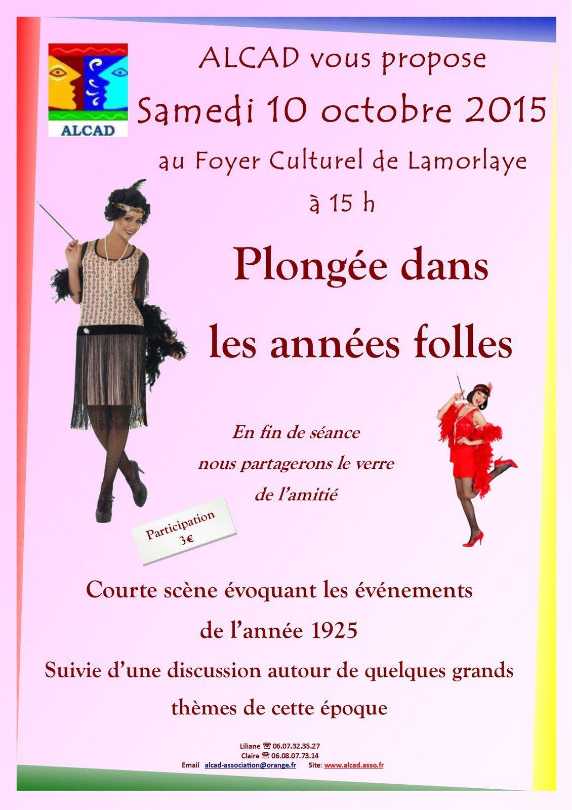 Plongée dans les années folles samedi 10 octobre à 15h au Foyer Culturel de Lamorlaye