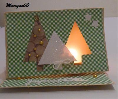 """Pour le forum C & S, une carte à éclairer à l'aide d'une bougie-led (et pas un chauffe-plat comme j'avais fait hi hi !). Ma carte n'est plus """"bancale"""" comme sur la 3ème photo, après modifications..."""