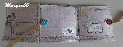 Ce thème m'a beaucoup plu ; j'aime souvent ajouter un peu de couture dans mes réas. Les papiers sont de chez Cultura (collection Brocante oldies).