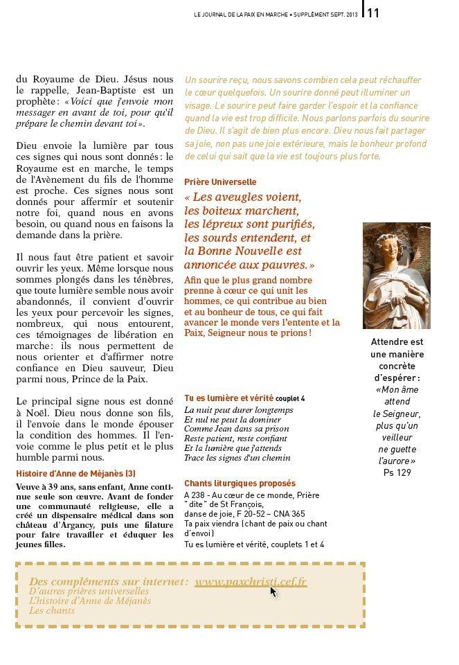 dimanche de la paix ; 15 décembre ; commentaire ; pax christi ; lumière ; Is 35, 1-6.10 ; Ps 146(145), 7-10 ; Jc 5, 7-10 ; Mt 11, 2-11 ; source : http://www.paxchristi.cef.fr/docs/JDP521.Noel2013.pdf