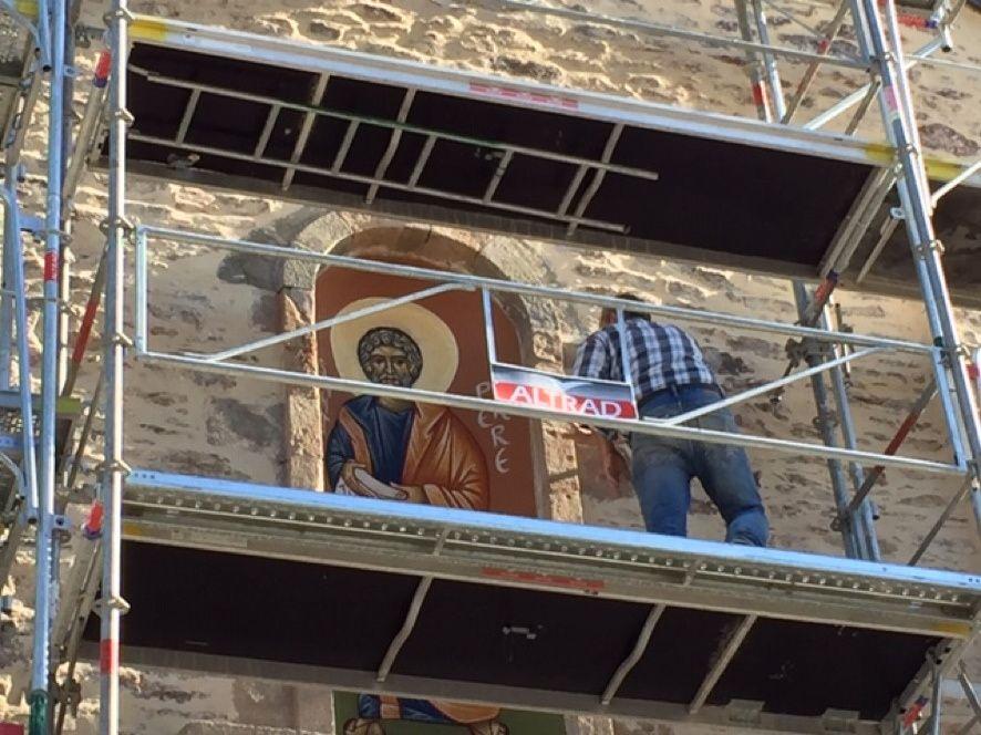 Fresque à l'église de St Pierre de Trivisy (Tarn)