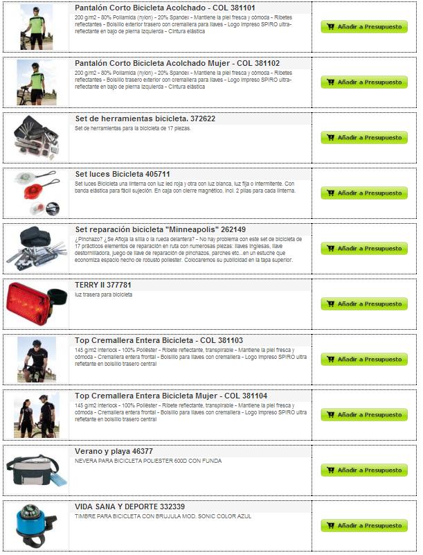 Catálogo de artículos para bicicletas y ciclistas para personalizar.