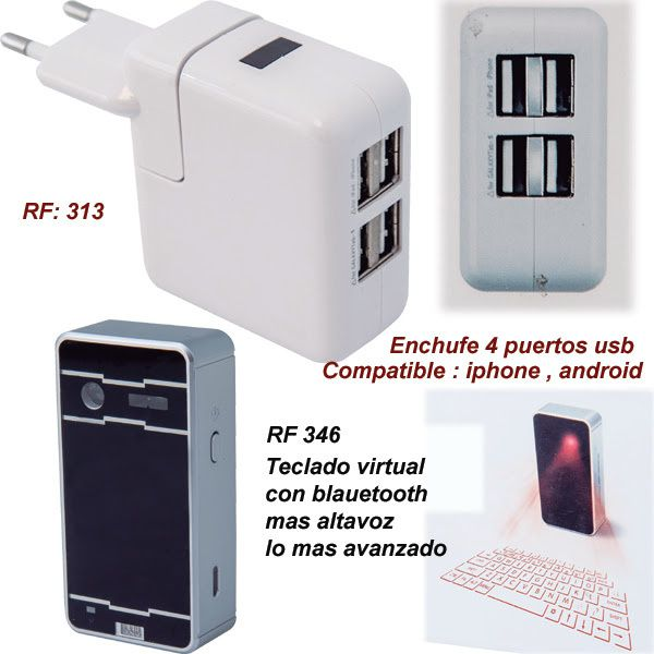 ¡ENCHUFE CON 4 PUERTOS USB Y TECLADO VIRTUAL CON BLUETOOTH MAS ALTAVOZ