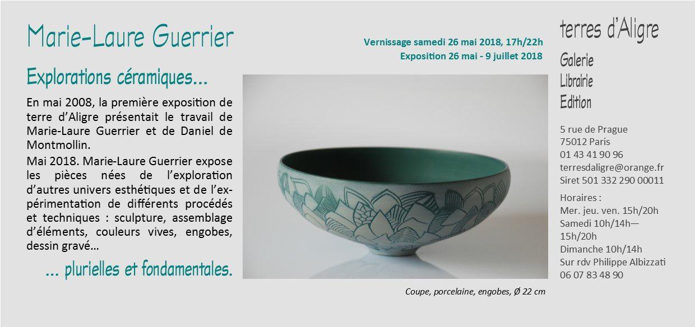 Explorations céramiques de Marie-Laure Guerrier  : sculpture, assemblage d'éléments, couleurs vives, engobes, dessin gravé…
