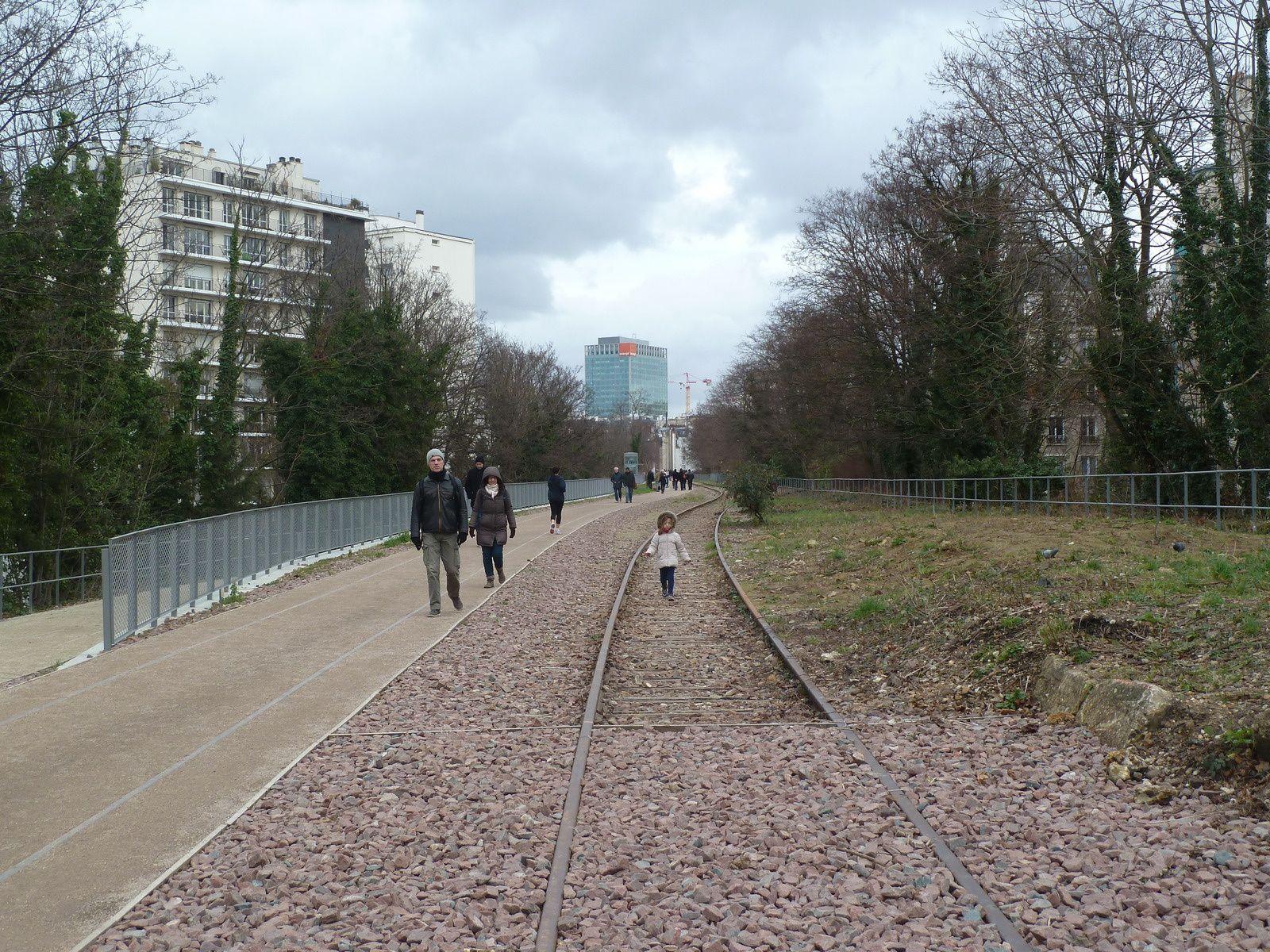 Pour permettre l'accès de ce site au public, la Ville de Paris a réalisé un aménagement paysager qui préserve le patrimoine ferroviaire et met en valeur cette biodiversité singulière.  Cette promenade est réversible en cas d'activité ferrée exceptionnelle. Le propriétaire des lieux, RFF se laissant la possibilité d'y faire à nouveau rouler des trains.