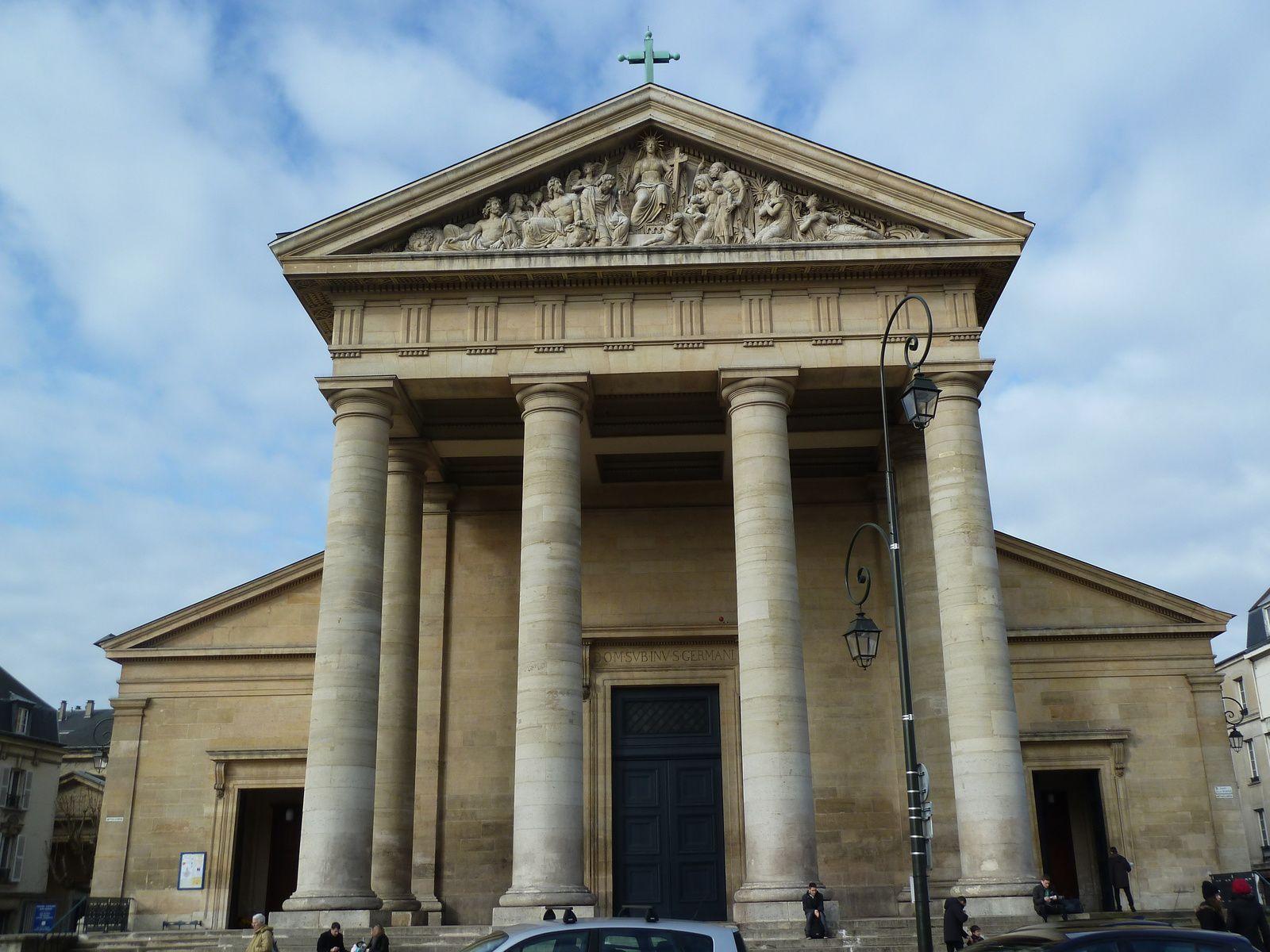L'église Saint-Germain. Elle était appelée au début du XVIIIème siècle, Saint-Germain-de-Paris. Située face au château, cette église construite en 1824, dans un style néoclassique inspiré des basiliques paléochrétiennes, fut restaurée par Joseph Nicolle de 1848 à 1854. Sa façade présente un fronton triangulaire supporté par six colonnes toscanes, dont quatre alignées en façade et deux en retour. Elle a été classée monument historique par décision en date du 23juillet1937.