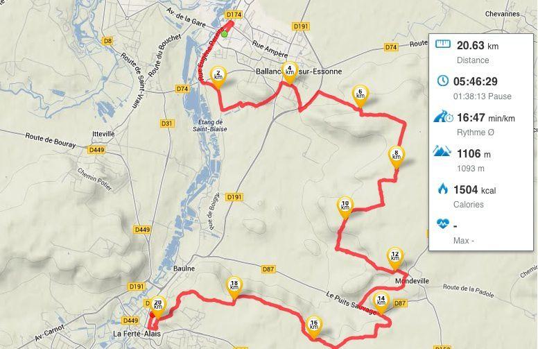 Randonnée de Ballancourt à La Ferté-Alais , 21 km - 2/...