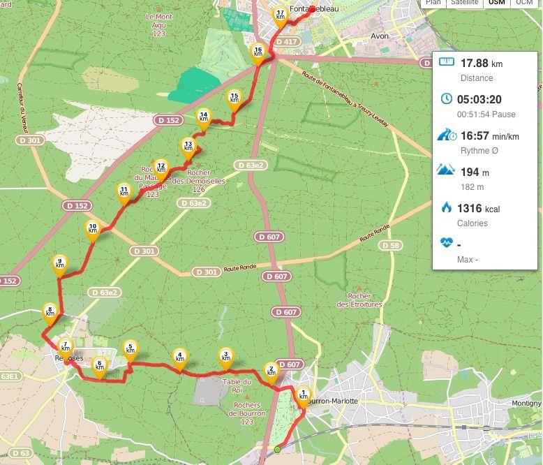 Détail de notre parcours en rouge sur la carte.