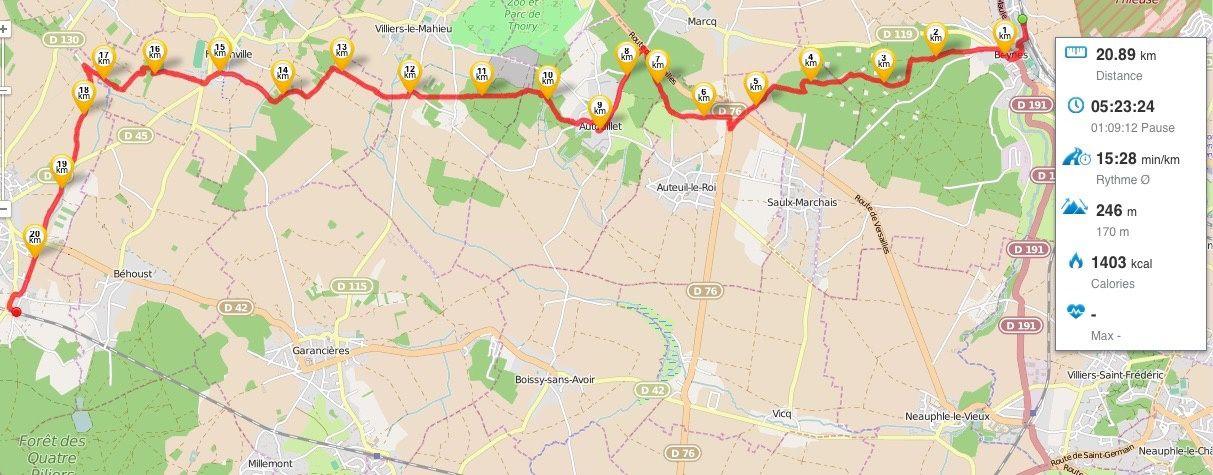 Randonnée de Beynes à Orgerus-Behoust 21 km.