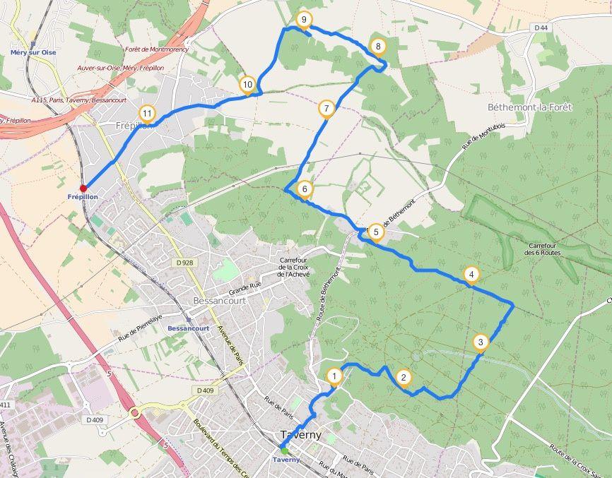 Randonnée de Taverny à Frépillon 12 km.