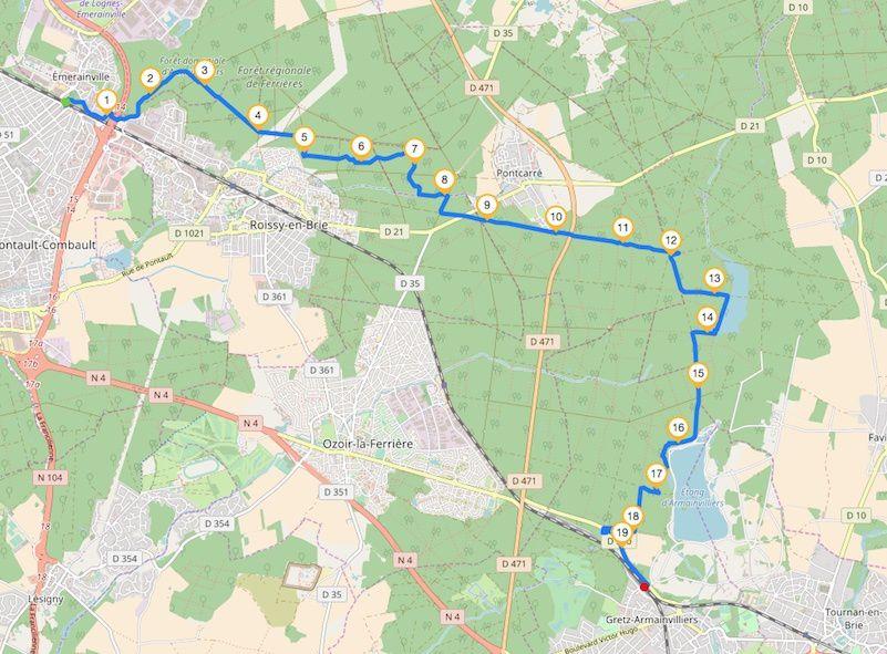 Randonnée d'Emerainville à Gretz-Armainvilliers - 20 Km.