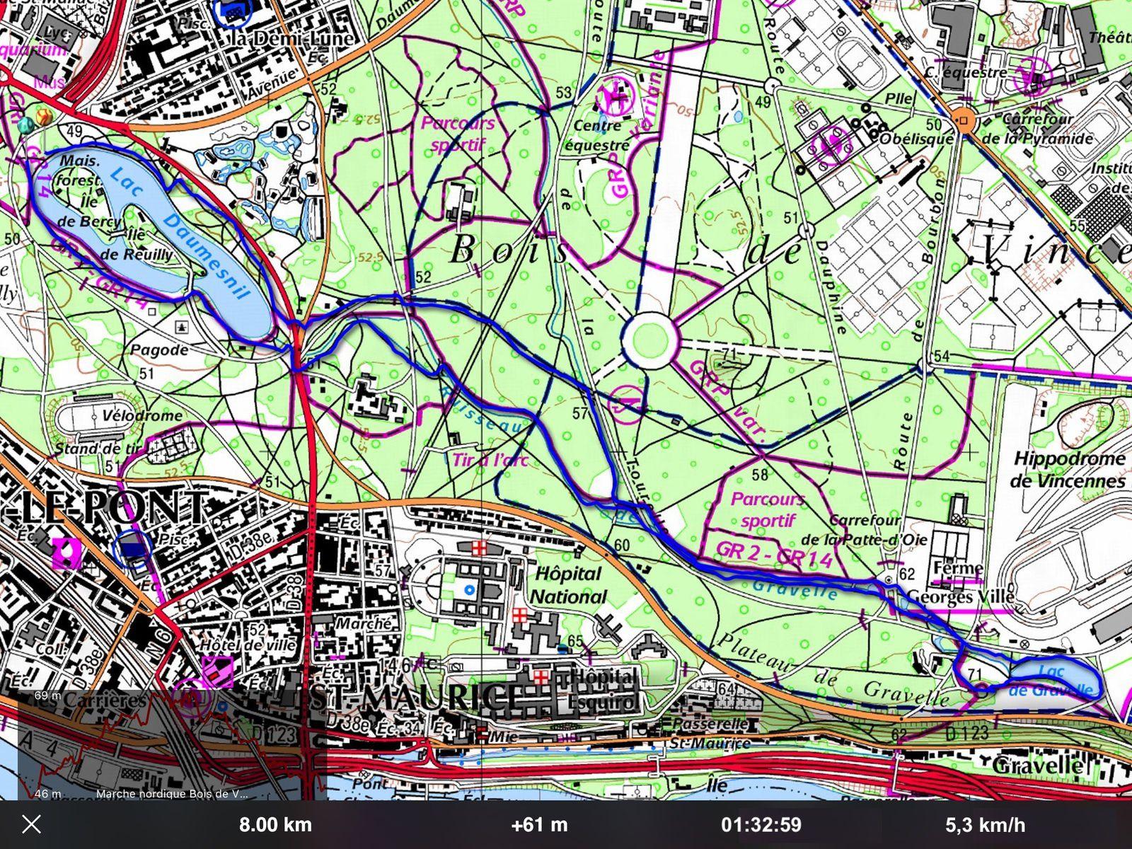 Marche Nordique au Bois de Vincennes - 8 km.