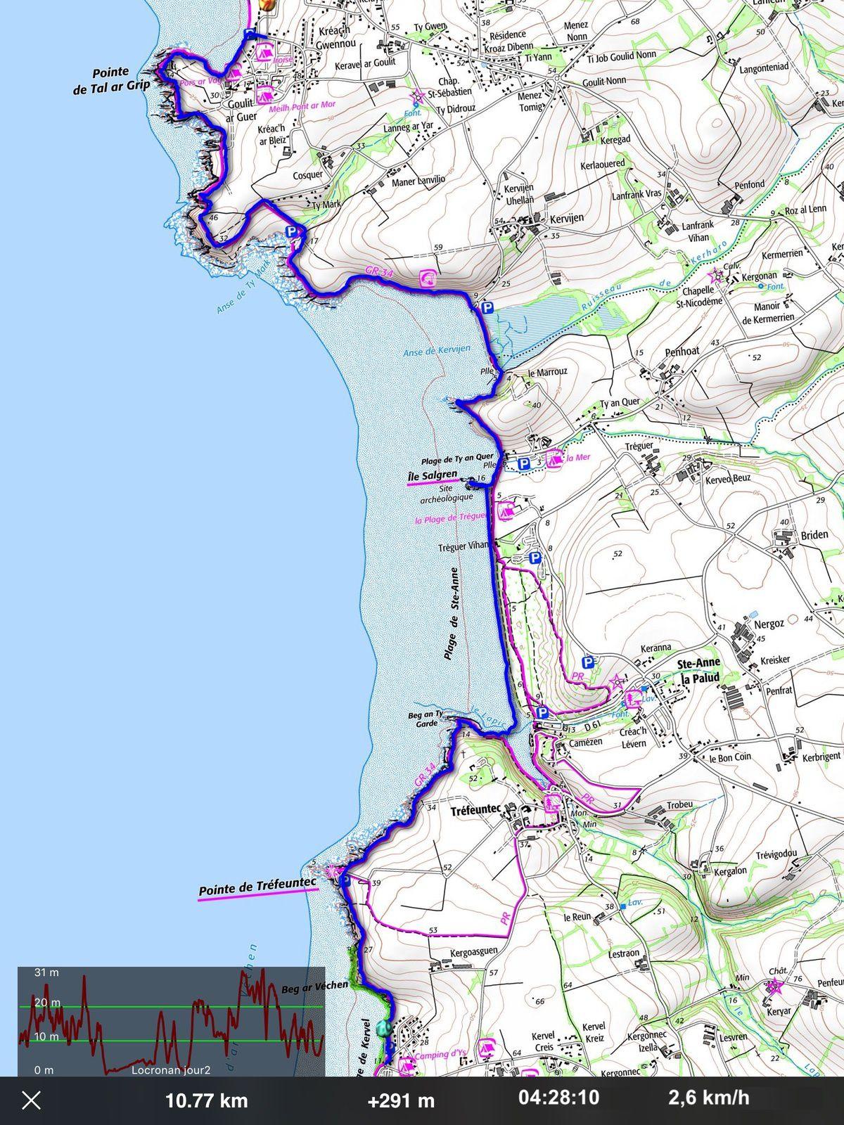 Randonnée de Kervel à la pointe de Tal-Ar-Grip, 11 km - Bretagne 2018.