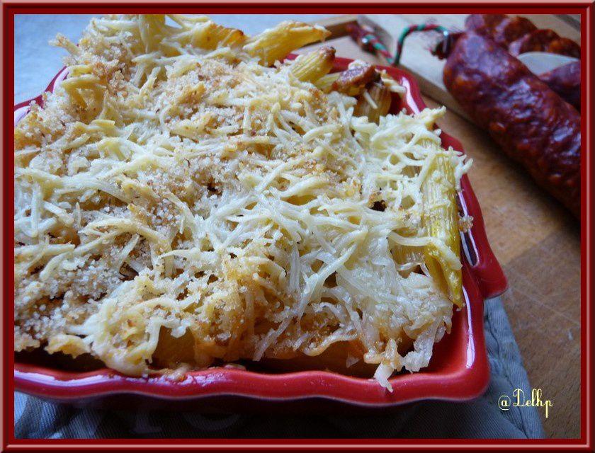 Grâtin de pâtes au chorizo et au curry
