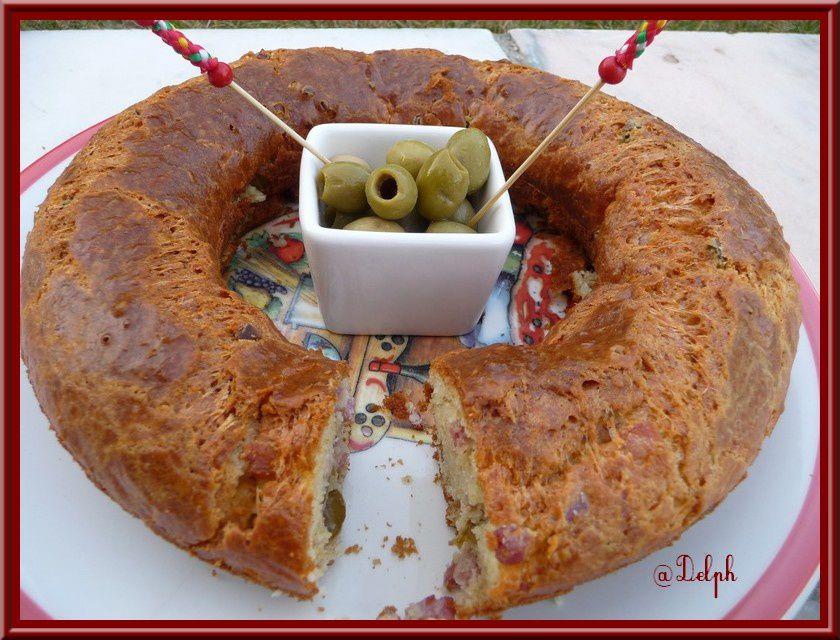 Cake aux lardons et olives
