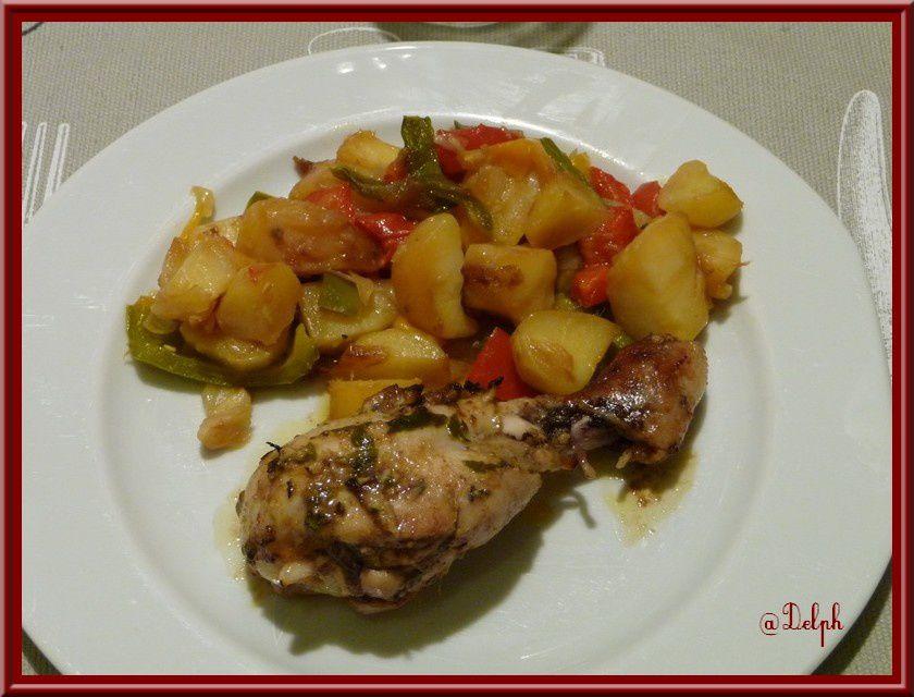 Pilons de poulet aux épices et  poêlée de légumes