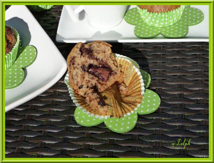 Muffins pépites de chocolat-bananes