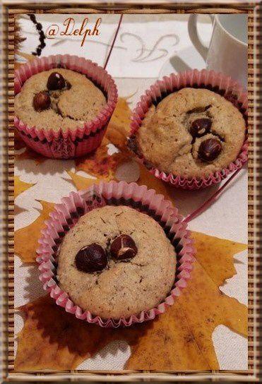 Muffins à la crème de marron, noisette et chocolat blanc.