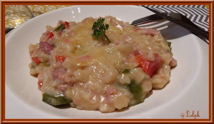 Crozetto aux lardons et poivrons